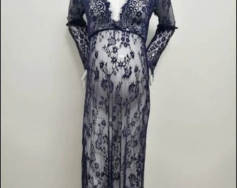 Maternity dress for photo shoot gown, lace, bohemian style navy blue. small and medium IN STOCK NOW