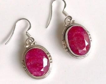 Vintage Ruby earrings, gemstone earrings, sterling silver earrings, vintage earrings, sterling silver jewellery, gift for her, silver gem
