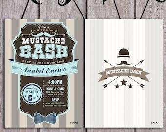 Mustache Baby Shower Invite, Retro Style Printable, Little Man Shower, For Boy Shower, Hippie Mustache Baby Shower, Mustache Bash Invitation