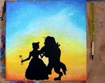 Beauty and the beast acrylic painting on Canvas