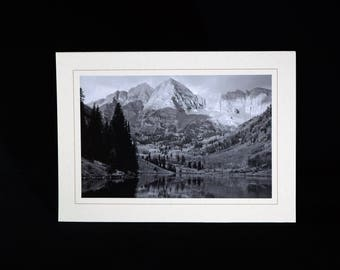 Maroon Bells in Black and White, Note Card