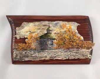 Old church: Small oil painting on birch bark, unframed, from Kiev, Ukraine