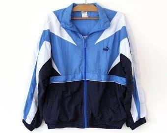 Vintage Puma Windbreaker, 90's Puma Jacket, Blue White Puma Sweatshirt Top, Hip Hop Puma Tracksuit, Unisex Puma Sport Jacket Large Size