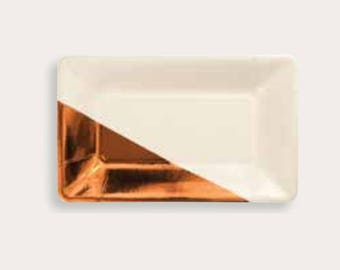 Rose Gold Rectangular Paper Plates, Rose Gold Party Plates, Rose Gold Paper Plates, Party Tableware, Wedding Paper Plates, Rectangle plates