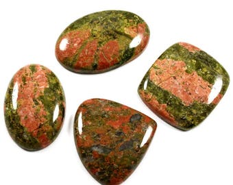 Natural Unakite Gemstone Cabochon,  Oval, Heart, Octagon Shape Loose Gemstone For Jewelry Making, 103.35 Cts 4 Pcs Wholesale Lot,LAB-26