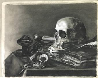 Peter Claesz Skull Still Life Master copy