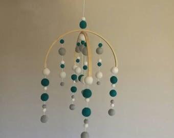 Teal White Grey Felt Ball Mobile | Baby Mobile | Baby Shower Gift | Nursery Ideas | Felt Mobile | Modern Mobile