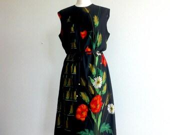 70 corn poppy motif sleeveless black dress
