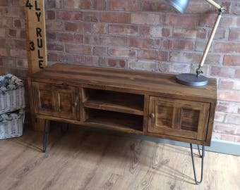 "Rustic Industrial Style Vintage Retro TV Cabinet  With 12"" Metal Hairpin Legs"