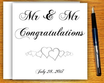 Wedding Card, Mr and Mr, Gay Wedding Card, Engagement Card, Congratulations, Greeting Card