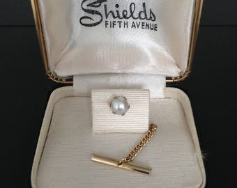 """Vintage faux pearl tie tack/tie pin in a gold tone from """"Shields fifth avenue"""""""