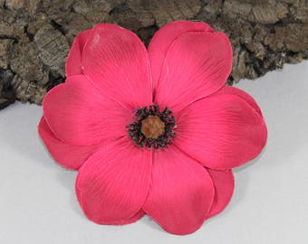 Vintage inspired rockabilly hair flower/Hairflower red Anemone