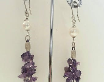 Earring crafted in sterling silver, amethyst and freshwater pearls by hand
