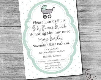 Classic Carriage Baby Shower Invitation - Custom Invitation - Printable Invitation
