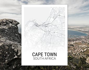 Cape Town South Africa Map Print