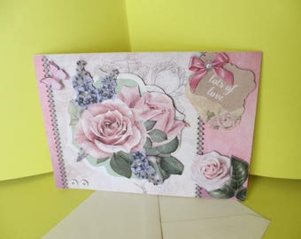 Vintage Roses and Butterfly 3D card