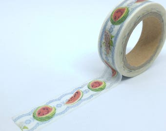 Washi Tape slices of watermelon 10Mx15mm blue lace background