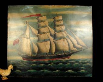Beautiful old English oil painting on sheet metal, signed Williamson 1889 / Decoration marine maritime boat sailboat