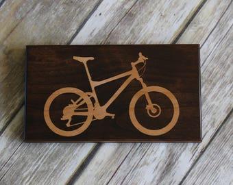 Bike Art - Mountain Bike Art - Wood Bike Art - Bike Sign - Extreme Sports Decor - Gift For Boyfriend - Home Bar Decor - Mountain Biker Gift