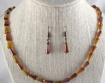 Beaded Necklace Earrings Jewelry Set Faceted Amber Glass Beads