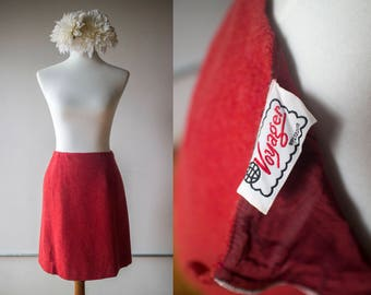"""Vintage 1960s Red Wool A-line Skirt - Voyager - 28"""" Waist"""