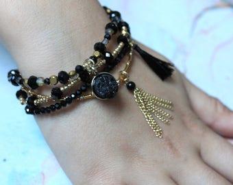Black and Gold Bohemian Bracelet, Egyptian Queen Bracelet, Black Crystal Beaded Bracelet