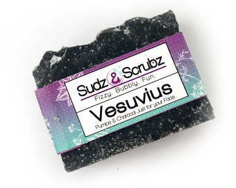 Activated Charcoal Soap, Charcoal Soap, Black Soap, All Natural Soap, Cold Process Soap, Artisan Soap, Face Soap, Pumice Soap, Vesuvius