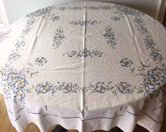 Vintage Mid Century Blue and Yellow Tablecloth 1960s