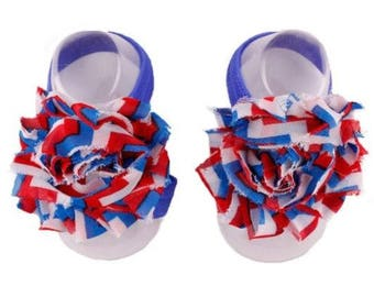Red, Blue, White - Baby Shoes , Baby Barefoot Sandals,  Baby Sandal,  Baby Sandals, Barefoot, Newborn, Toddler