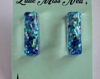 Rectangle Resin Blue Multi Glitter Earrings