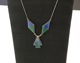 Vintage, Native, American, Sterling, Zuni, inlay, signed necklace