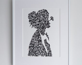 Handwriting Japanese Calligraphy Art Piece 'a woman with sunglasses'