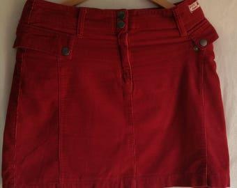 Vintage Velvet Skirt/ 90s Clothing/Red Skirt/ Mini Skirt/ Short Skirt/ Party Skirt/ Womens mini skirt/Size US 8-10