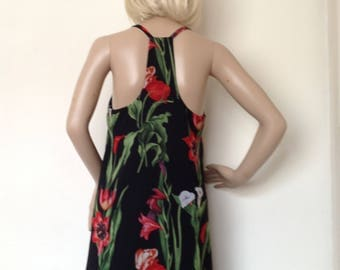 Black and red rose chiffon top in med size