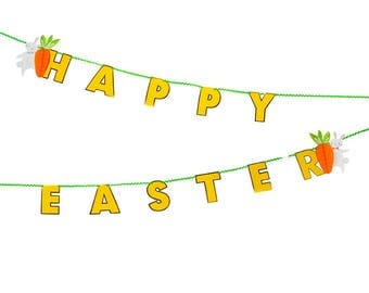Happy Easter Bunting, Easter Garland, Easter Egg Hunt Party Decorations, Easter Celebration Decorations, Party Bunting