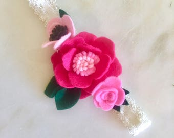 Magenta & Pink Felt Flower Lace Baby Headband
