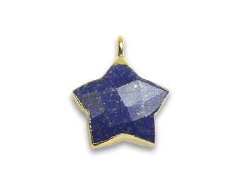 Lapis Lazuli Star Shape 12 MM Electroplating Pendant Gold plated