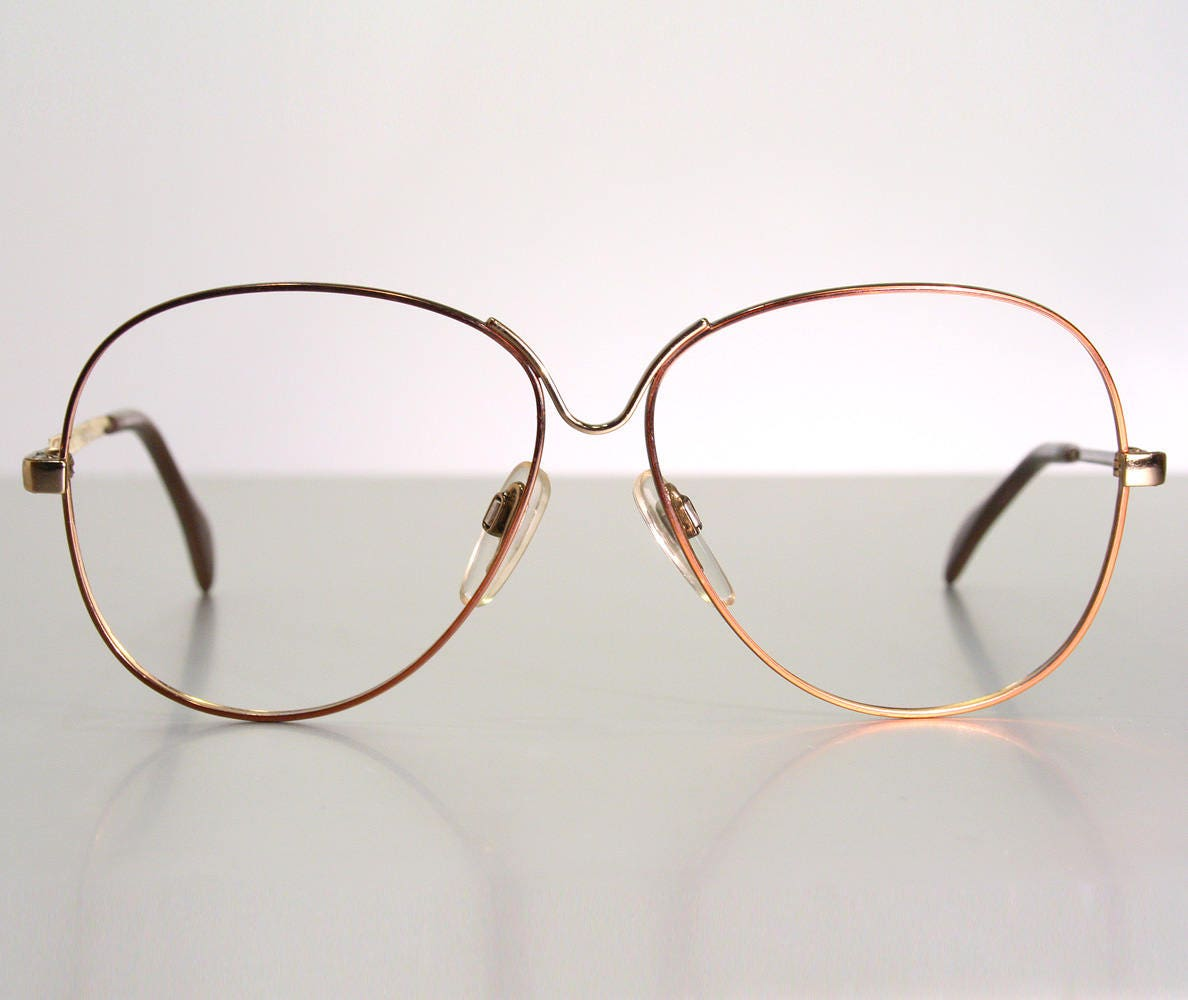 e8972949bf2 302 Early 1980 s Copper Color Metal Oversize Butterfly Eyeglass Frames Old  Stock