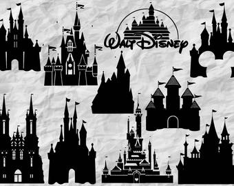 10 Disney Castle Silhouettes | Disney Castle SVG cut files | Disney Castles printable | digital files | vectors | prints | instant download