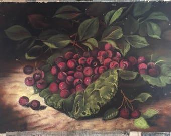 Vintage Pastel Drawing of Cherries / Original Fruit Still Life Drawing / Colorful Fruit Art Decor