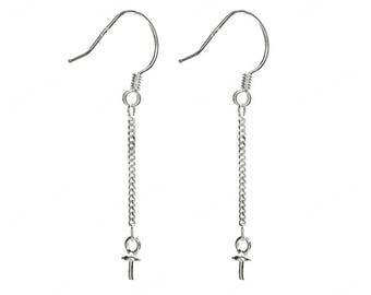 925 Sterling Silver Fish Hook Wire Dangle Earrings Mountings CDPM64