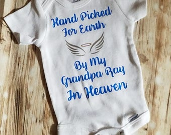 Hand Picked From Heaven Baby Bodysuit - Baby Bodysuit - Unisex Baby Bodysuit - In Memory Of A Loved One - Heaven Sent - In Memory Clothing
