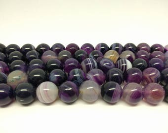 12 mm Purple Agate Beads Purple Beads Purple Striped Agate Beads Jewelry Beads for Jewelry Making Jewelry Supplies Gemstone Beads Mala Beads