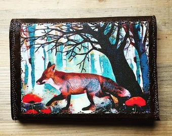 Original Art - Fox in the woods with poppies Vegan Leather Bifold Wallet