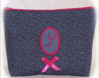 """Pouch Kit bellows - zipped - blue grey tone and pink with Monogram """"L"""" pendant - handmade."""
