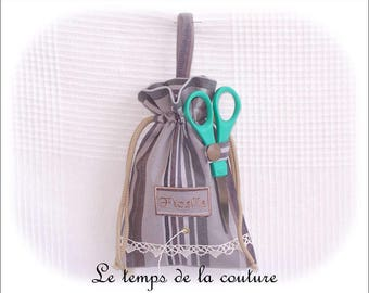 Kitchen - Reel - string bag - grey, Brown and green tones - handmade.