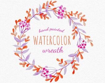 Handgemalter Blumenkranz Clipart / Einladung zur Hochzeit Clipart / pink-rote Beeren, flower wedding clipart, handpainted watercolor wreath