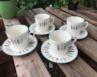 Marcrest Stetson Nordic Mint Coffee Tea Cups Mugs with Saucers