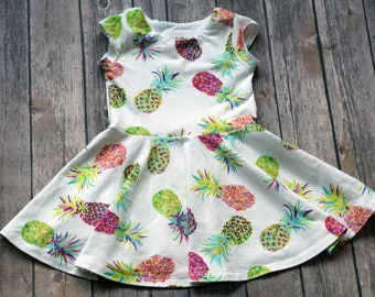 Pineapple Dress. Summer Dress. Fruit Dress. Baby Dress. Toddler Dress. Little Girl Dress. Twirl Dress. Twirly Dress. Play Dress.