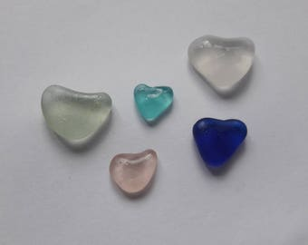 Special Valentine's day! heart shape 5 sea French glasses / french sea glass